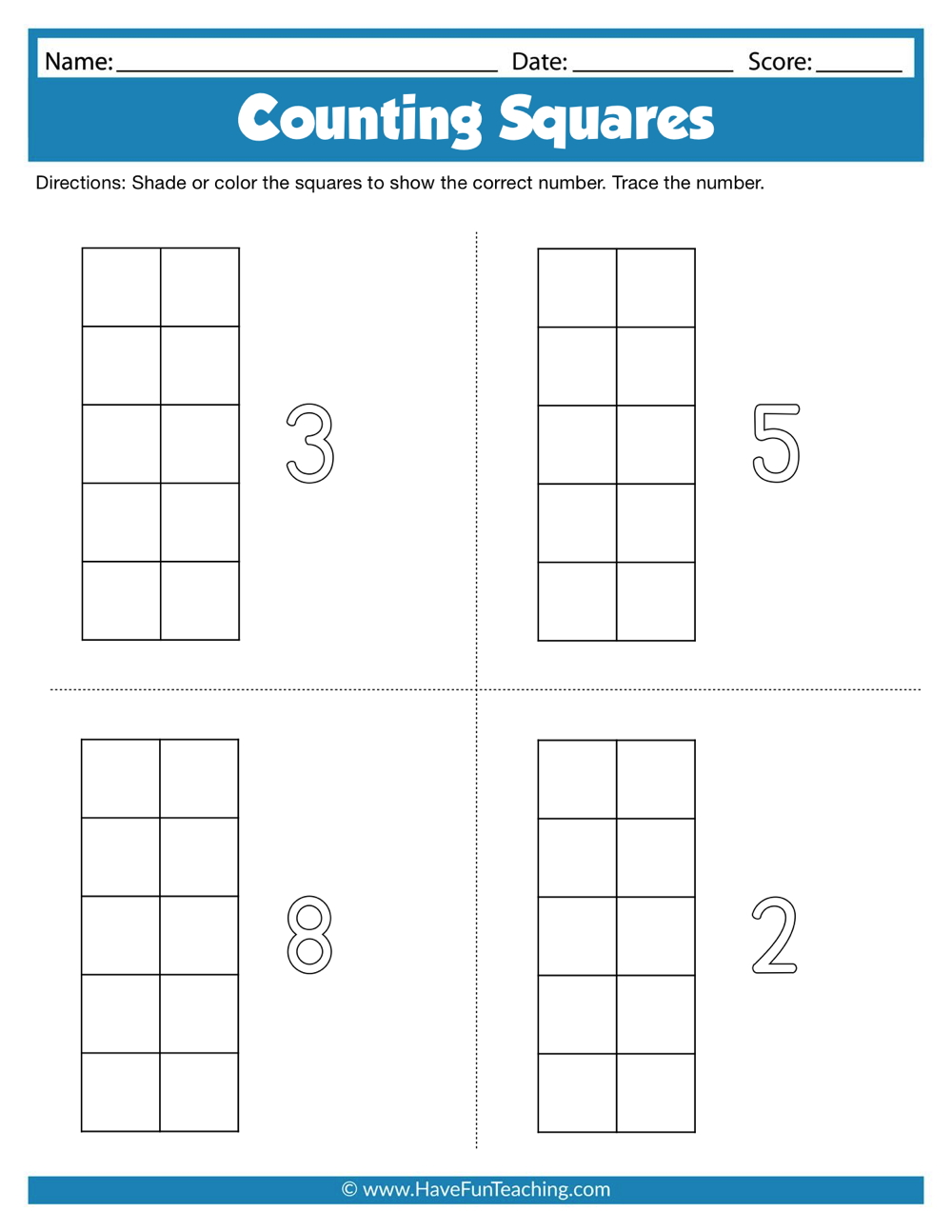 Counting Squares Worksheets | Have Fun Teaching