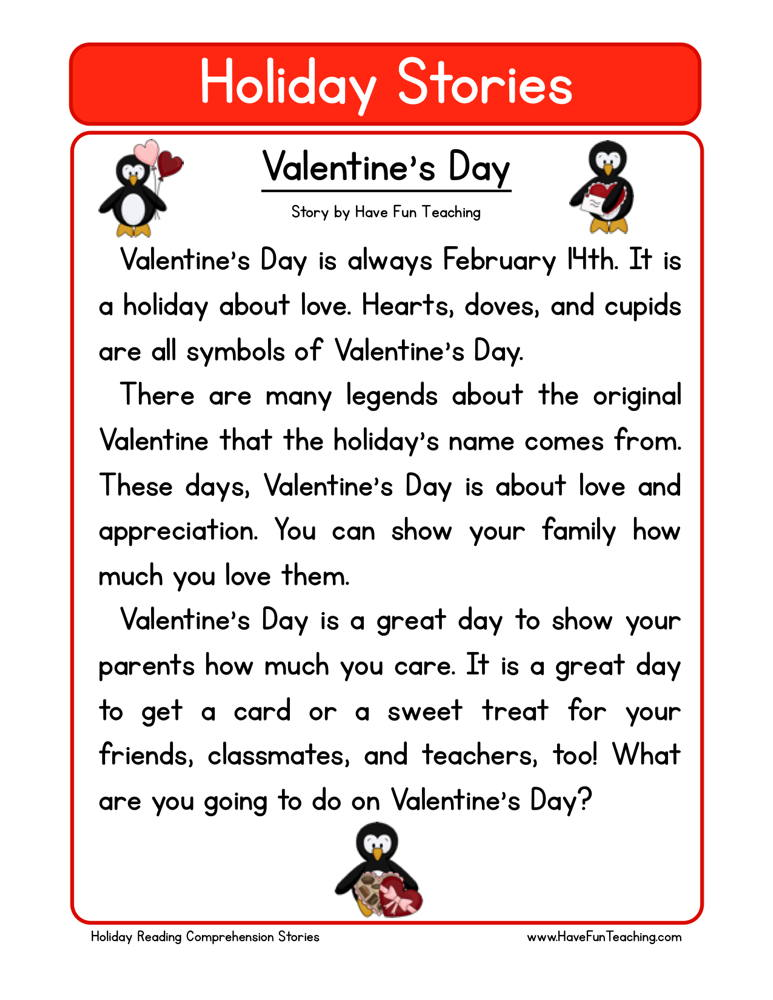 Valentine S Day Reading Prehension Worksheet