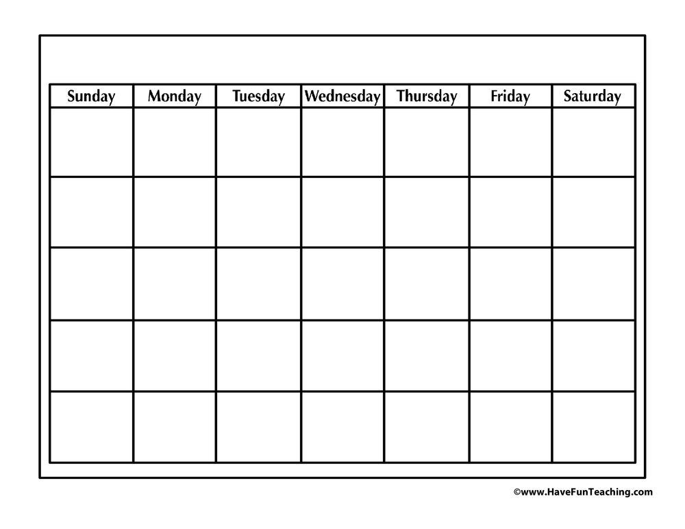 Blank Calendar • Have Fun Teaching