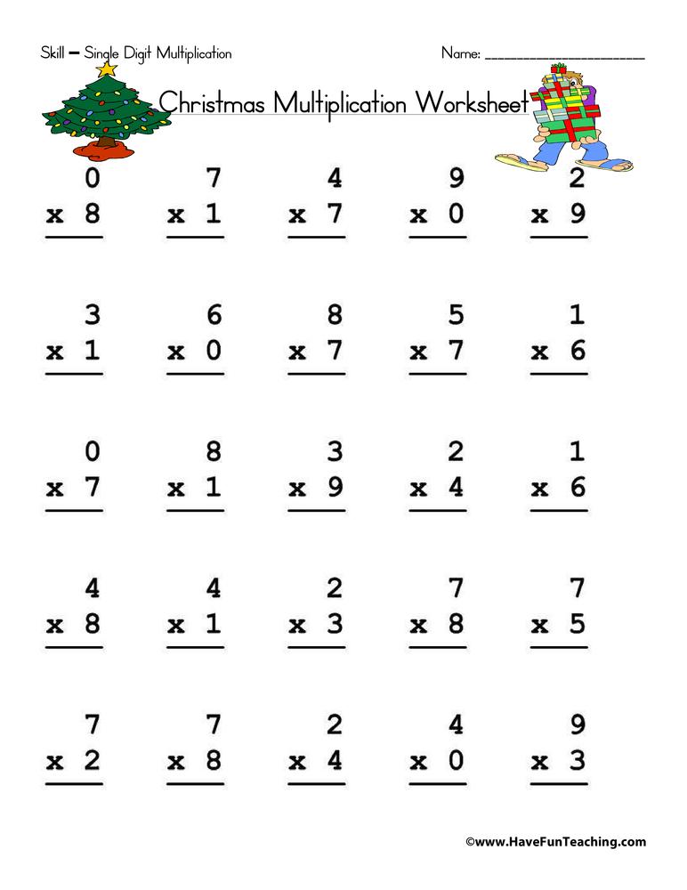 Christmas Single Digit Multiplication Worksheet - Have Fun ...
