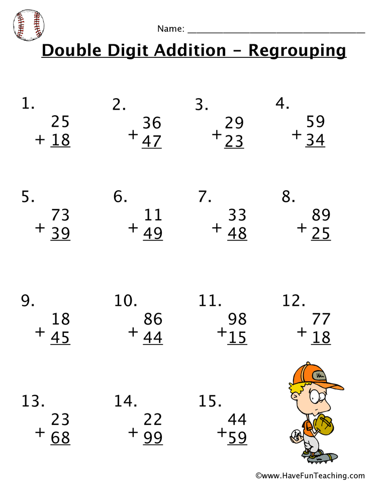 Double Digit Addition With Regrouping Worksheet • Have Fun ...