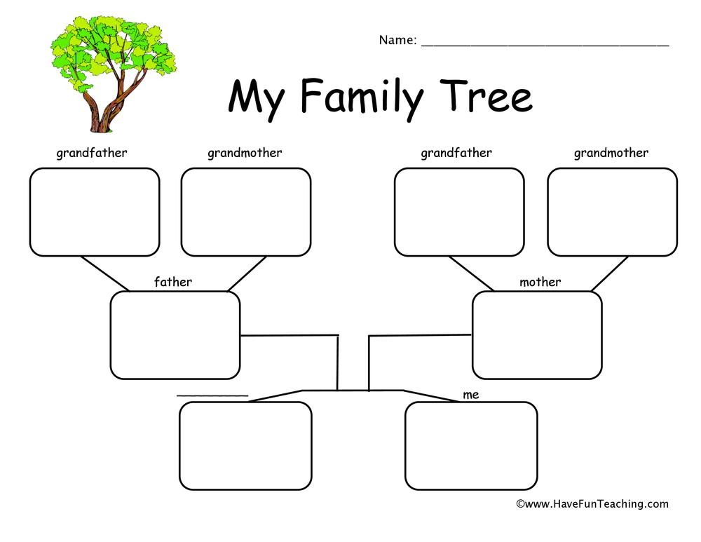 2 Children Family Tree Worksheet Have Fun Teaching