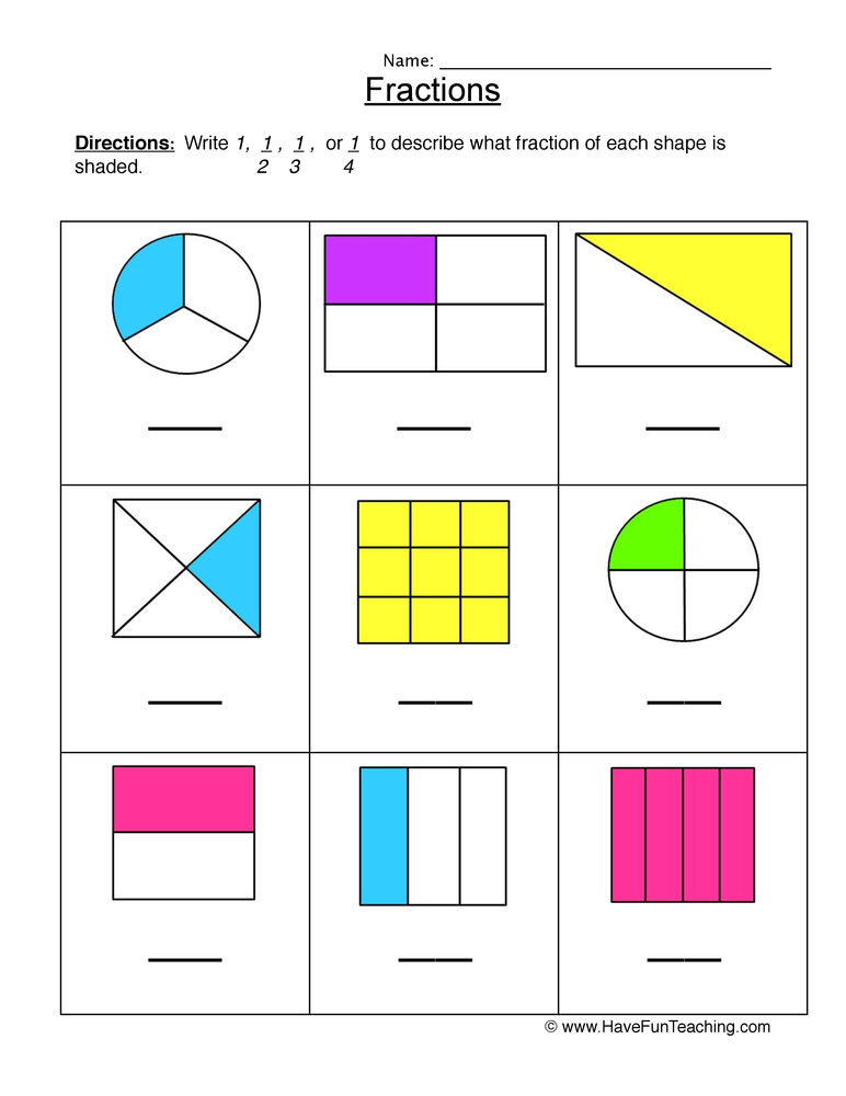 Halves, Thirds, Fourths Fractions Worksheet • Have Fun ...