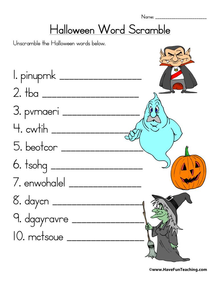 Halloween Word Scramble Worksheet • Have Fun Teaching