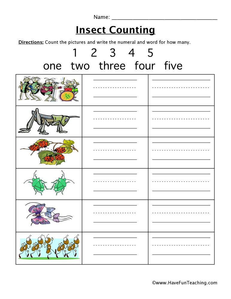 Insect Counting Numbers 1 5 Worksheet Have Fun Teaching