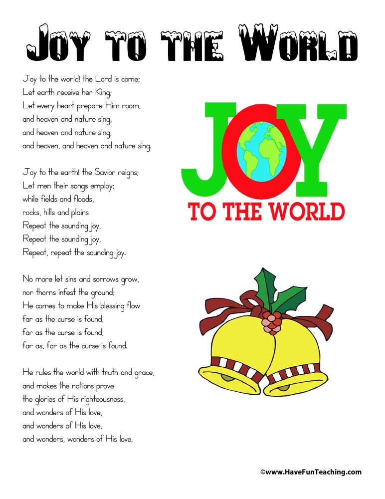 Joy To The World Lyrics.Joy To The World Lyrics Have Fun Teaching