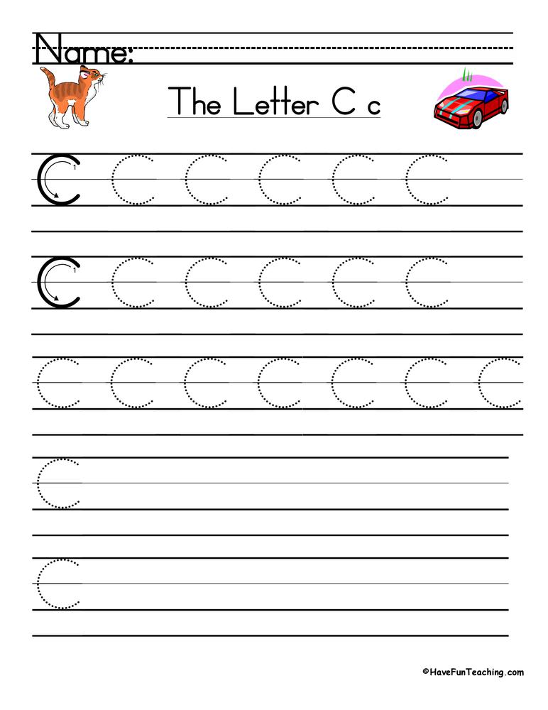 Letter C Handwriting Practice Worksheet • Have Fun Teaching