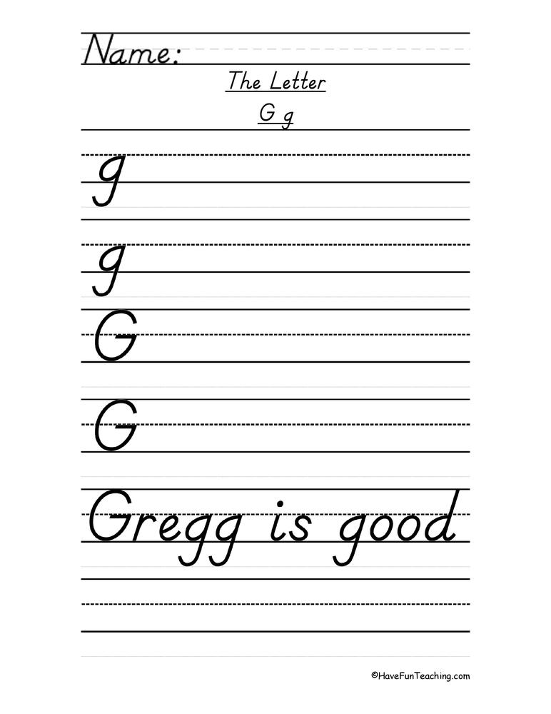 Letter G D'Nealian Style Handwriting Practice Worksheet • Have Fun Teaching