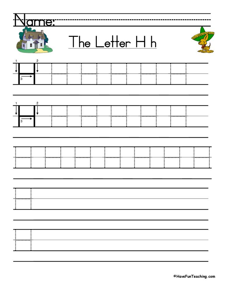 Letter H Handwriting Practice Worksheet • Have Fun Teaching