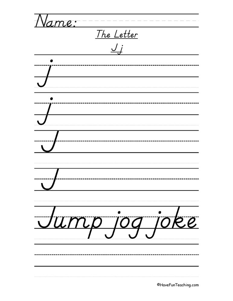 Letter J D'Nealian Style Handwriting Practice Worksheet • Have Fun Teaching