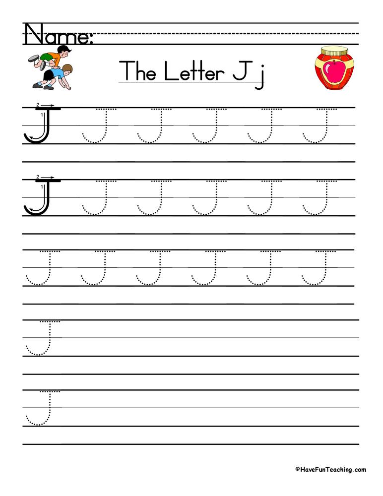 Letter J Handwriting Practice Worksheet • Have Fun Teaching