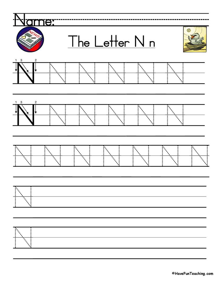 Letter N Handwriting Practice Worksheet • Have Fun Teaching
