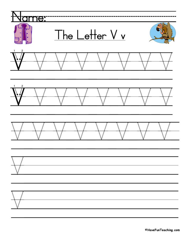 Letter V Handwriting Practice Worksheet • Have Fun Teaching