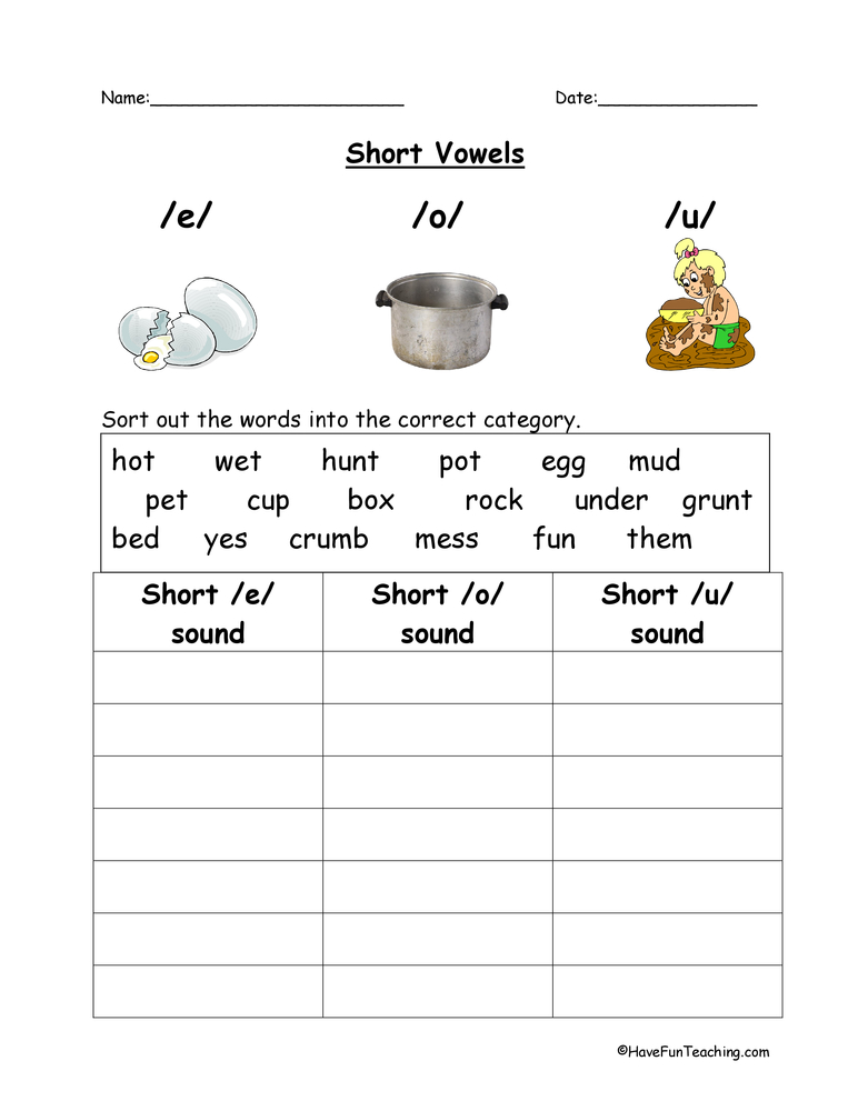 E, O, U Short Vowels Worksheet • Have Fun Teaching