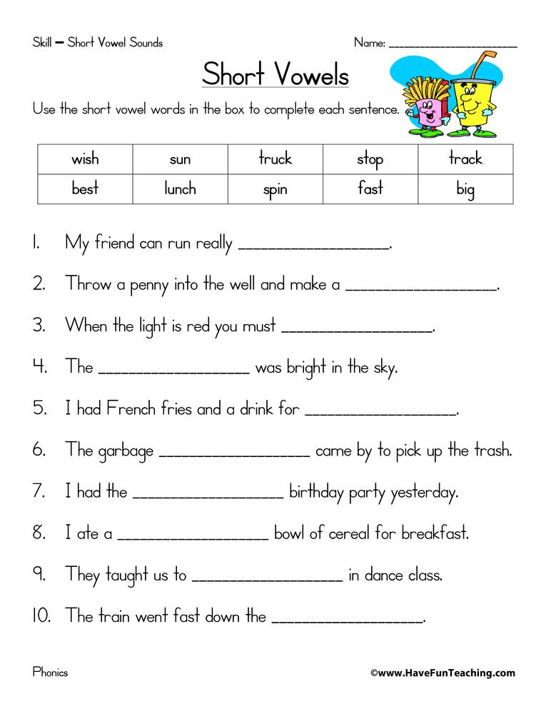 Short Vowel A Worksheets For Kindergarten