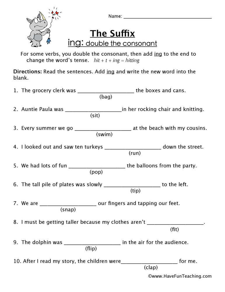 Adding ING Suffix Worksheet • Have Fun Teaching