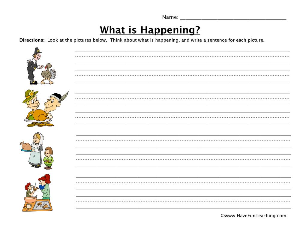 Thanksgiving Sentence Writing Worksheet • Have Fun Teaching