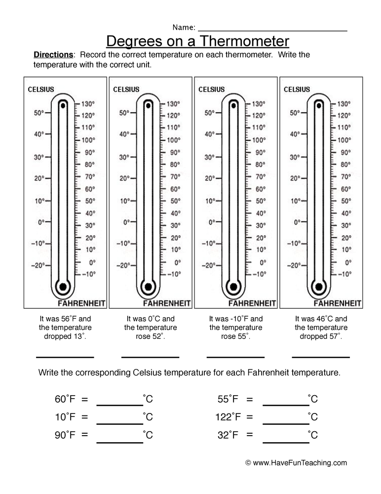 Degrees on a Thermometer Worksheet • Have Fun Teaching