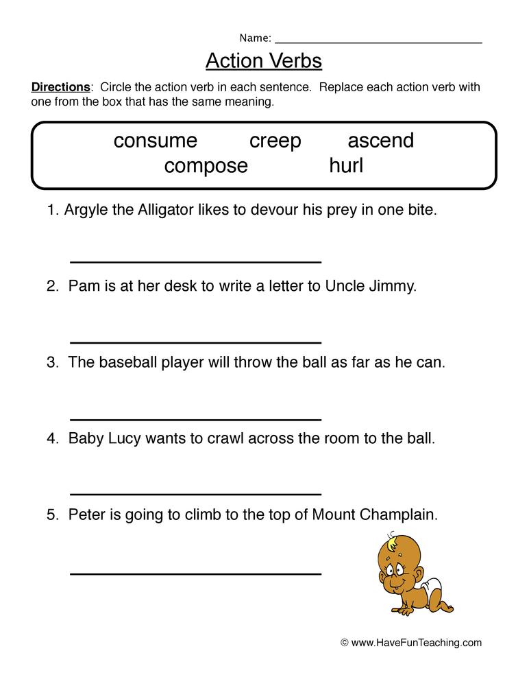 Vivid Verbs Worksheet • Have Fun Teaching