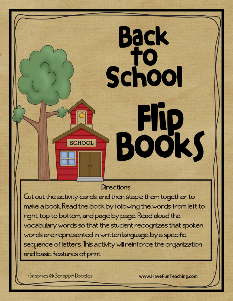 Back to School Flip Books Activity