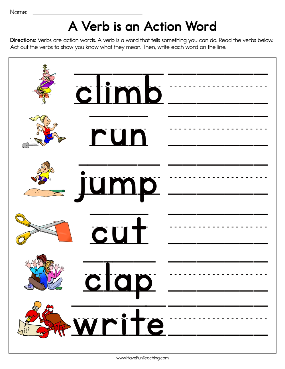 A Verb is an Action Word Worksheet | Have Fun Teaching