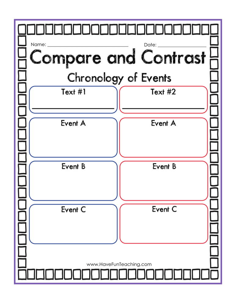 Compare and Contrast Chronology of Events Graphic Organizer Worksheet
