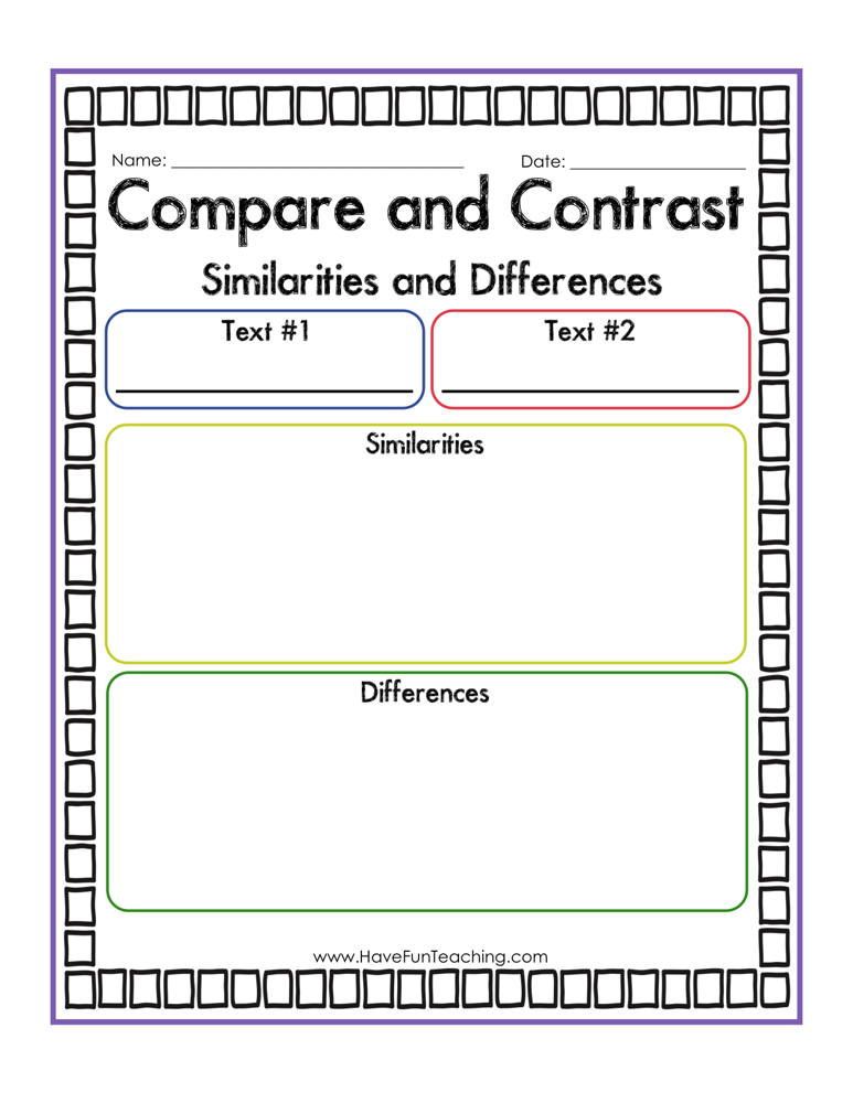 Compare and Contrast Similarities and Differences Graphic Organizer Worksheet