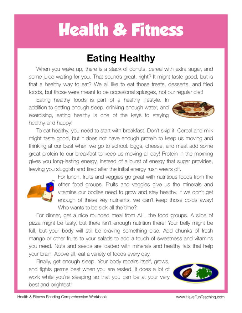 Eating Healthy Health and Fitness Reading Comprehension Worksheet