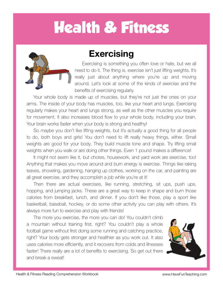 Exercising Health and Fitness Reading Comprehension ...