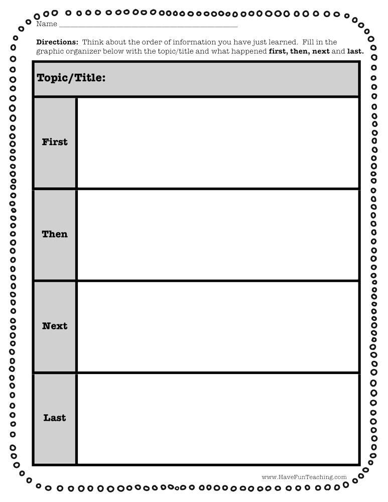 First Next Then Last Graphic Organizer Worksheet
