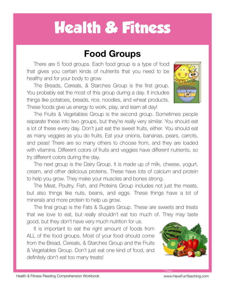 food groups health and fitness reading comprehension worksheet have fun teaching. Black Bedroom Furniture Sets. Home Design Ideas