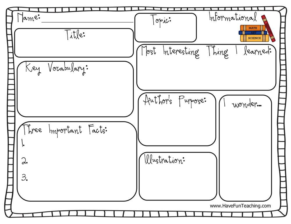 Informational Text Graphic Organizer Worksheet