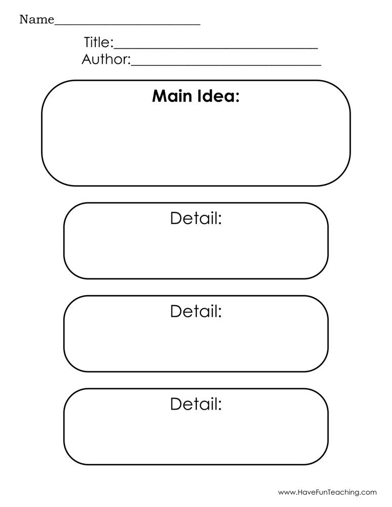 Main Idea And Three Details Graphic Organizer Worksheet