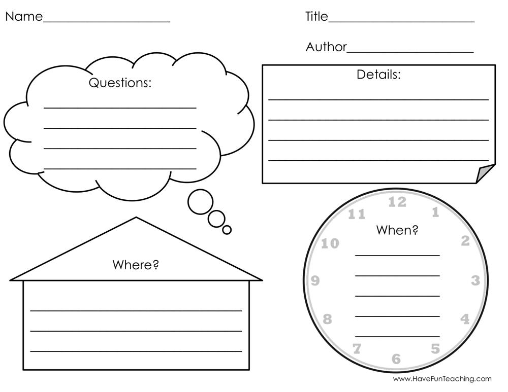 Questions Details and Setting Graphic Organizer Worksheet