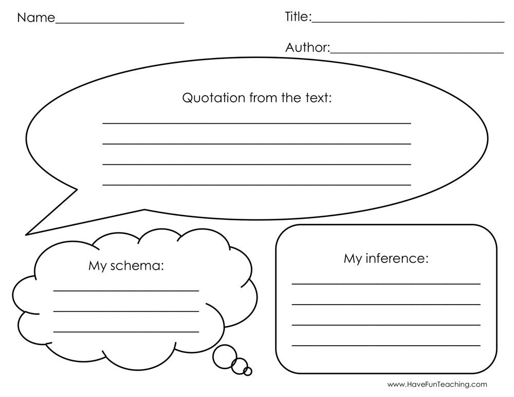 Quotation from the Text Graphic Organizer Worksheet