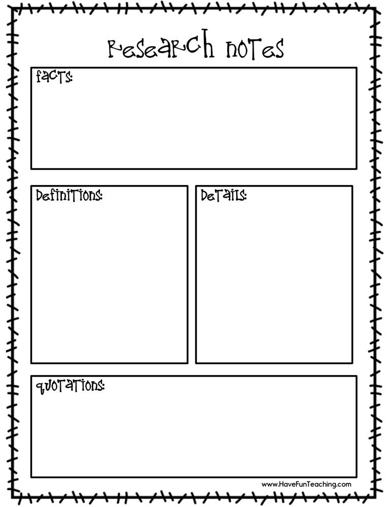 Research Notes Worksheet