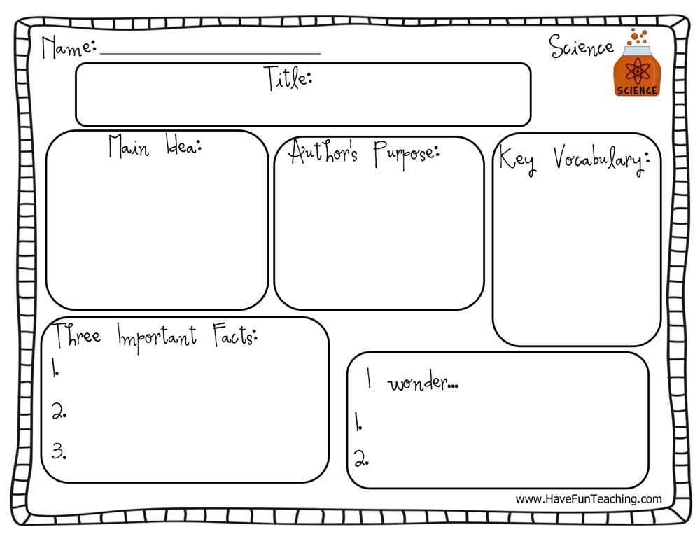 Science Graphic Organizer Worksheet
