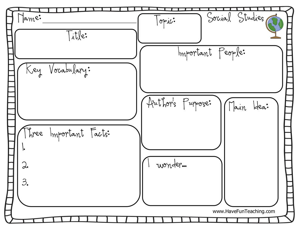 Social Studies Graphic Organizer Worksheet