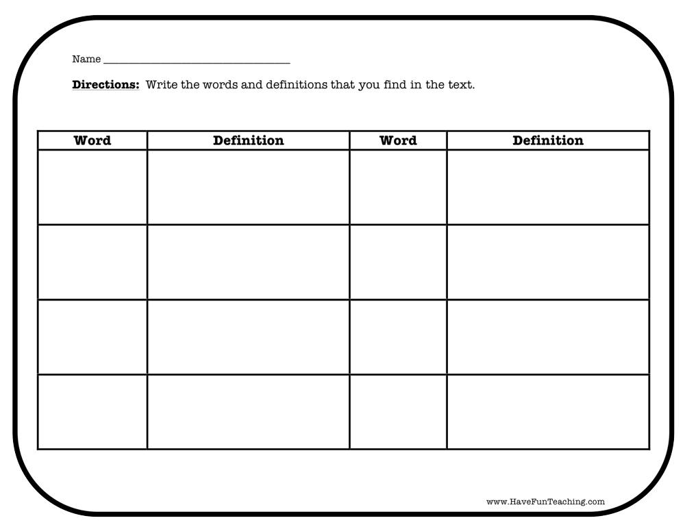 Word and Definition Worksheet | Have Fun Teaching