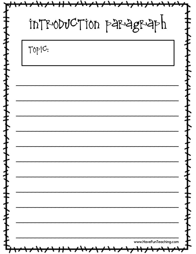 Writing An Introduction Paragraph Worksheet Have Fun
