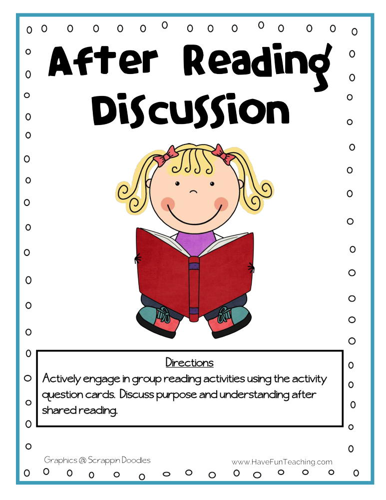 After Reading Discussion Cards Activity