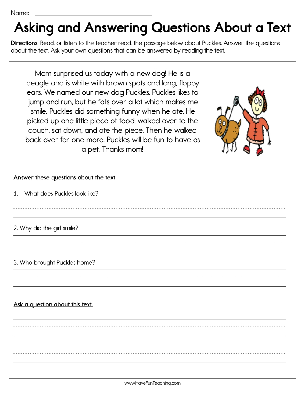 - Asking And Answering Questions About A Text Worksheet – Have Fun