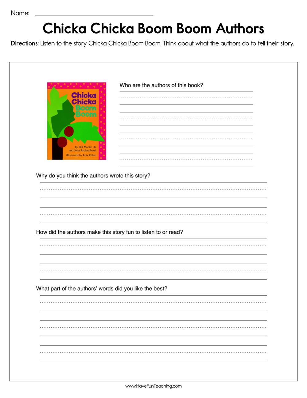 Chicka Chicka Boom Boom Authors Worksheet
