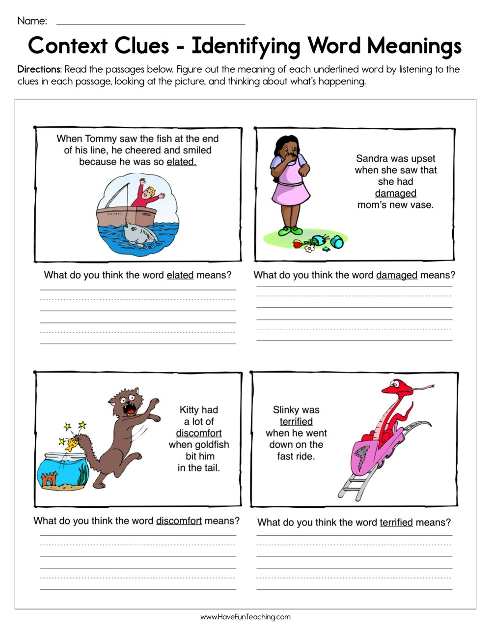 Context Clues Identifying Word Meaning Worksheet