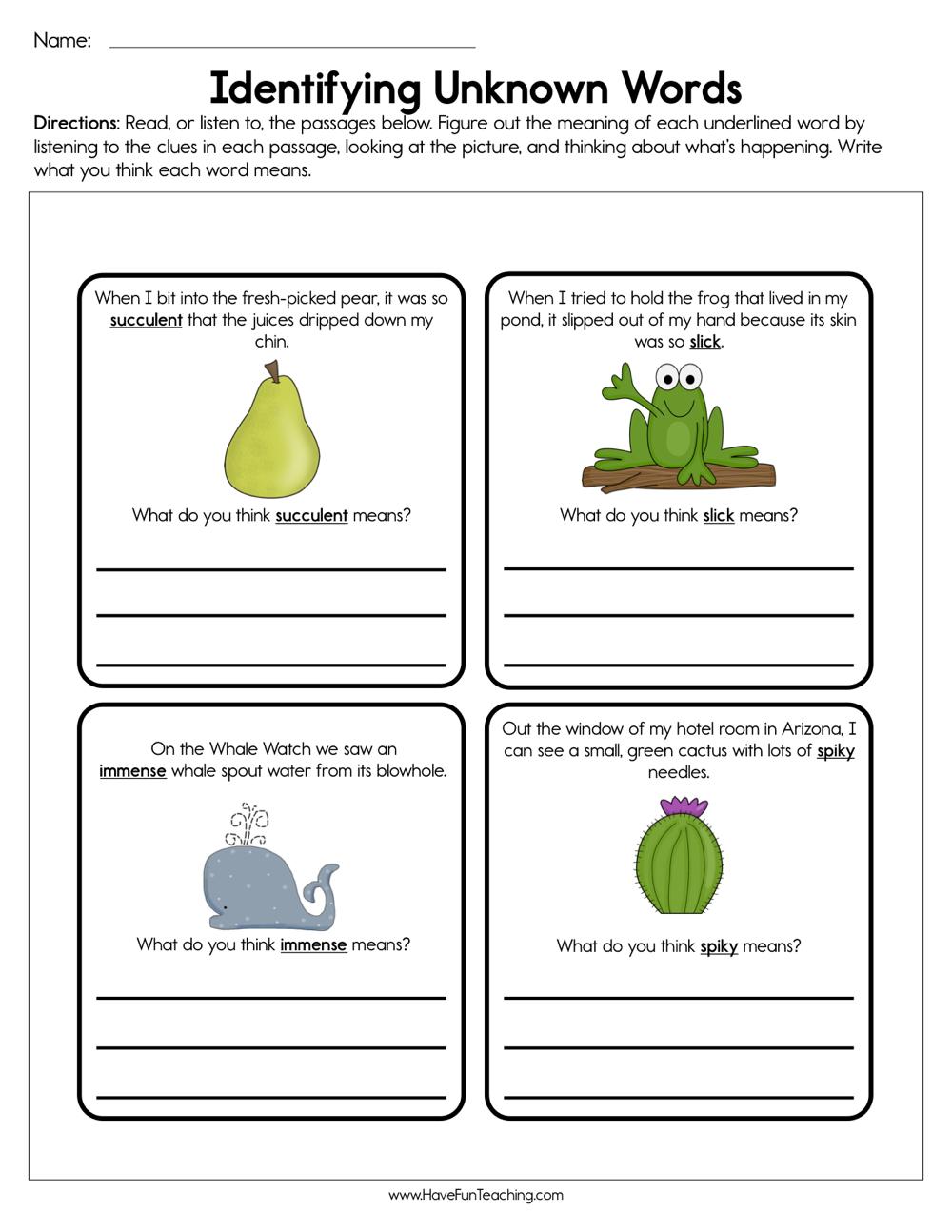 Identifying Unknown Words Worksheet
