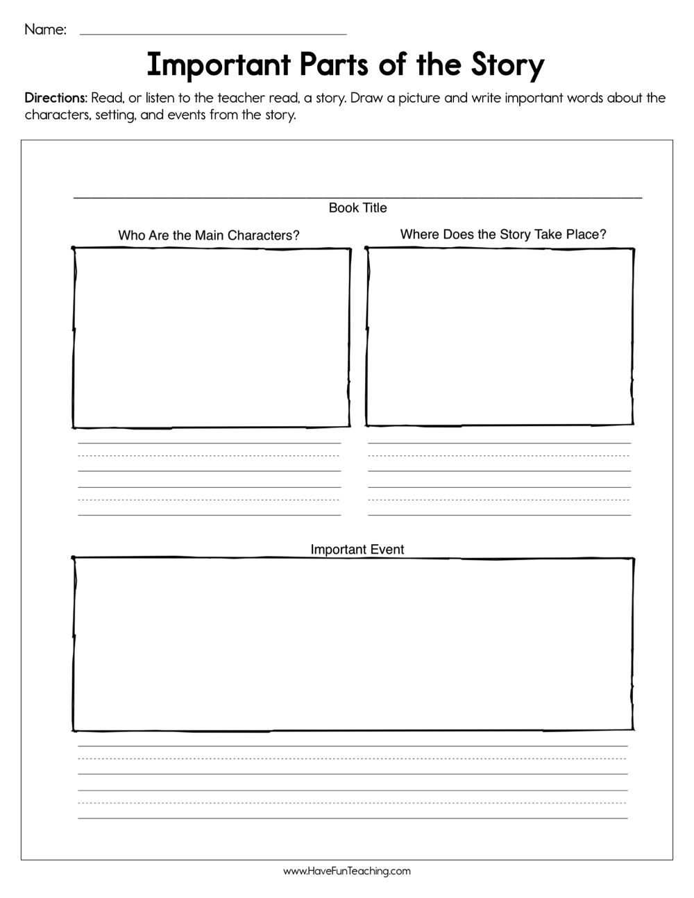 Important Parts of the Story Worksheet