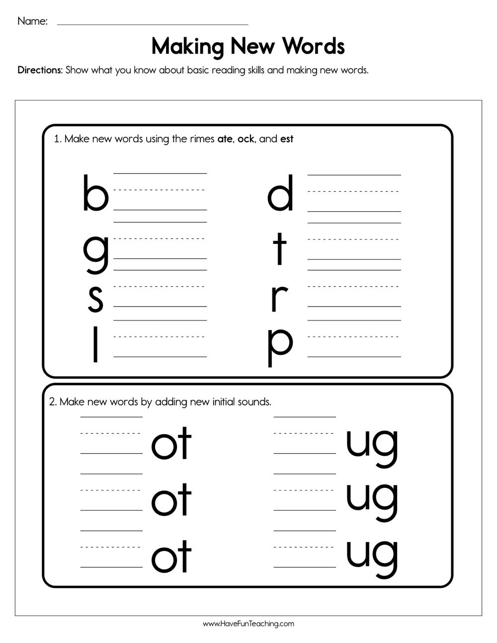 Making New Words Worksheet