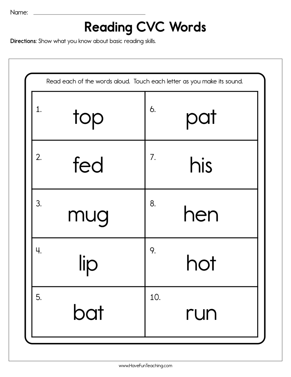 CVC Worksheets   Have Fun Teaching