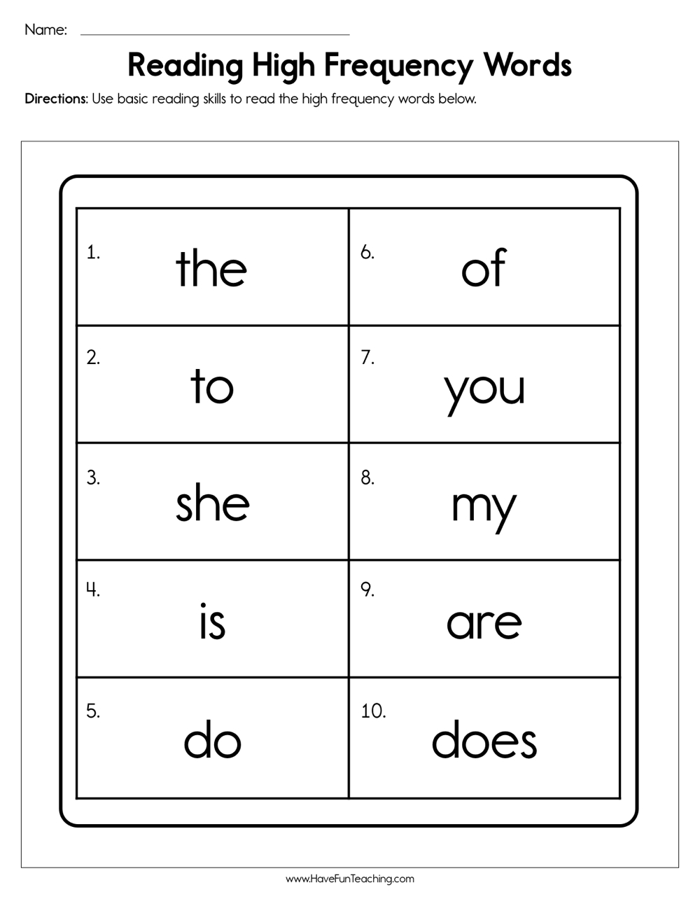 Reading High Frequency Words Worksheet