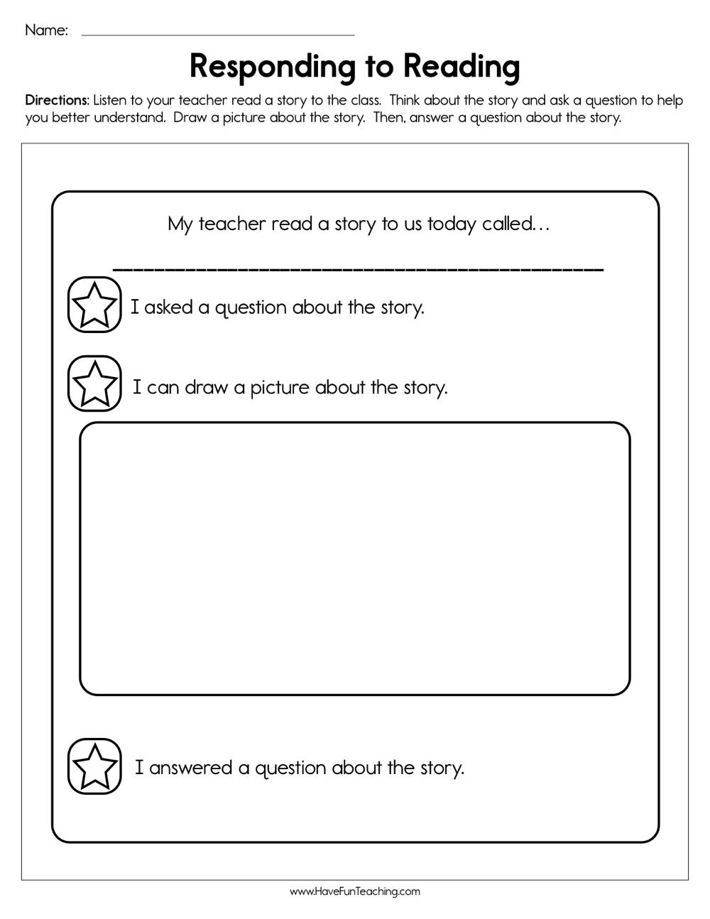 - Responding To Reading Worksheet • Have Fun Teaching